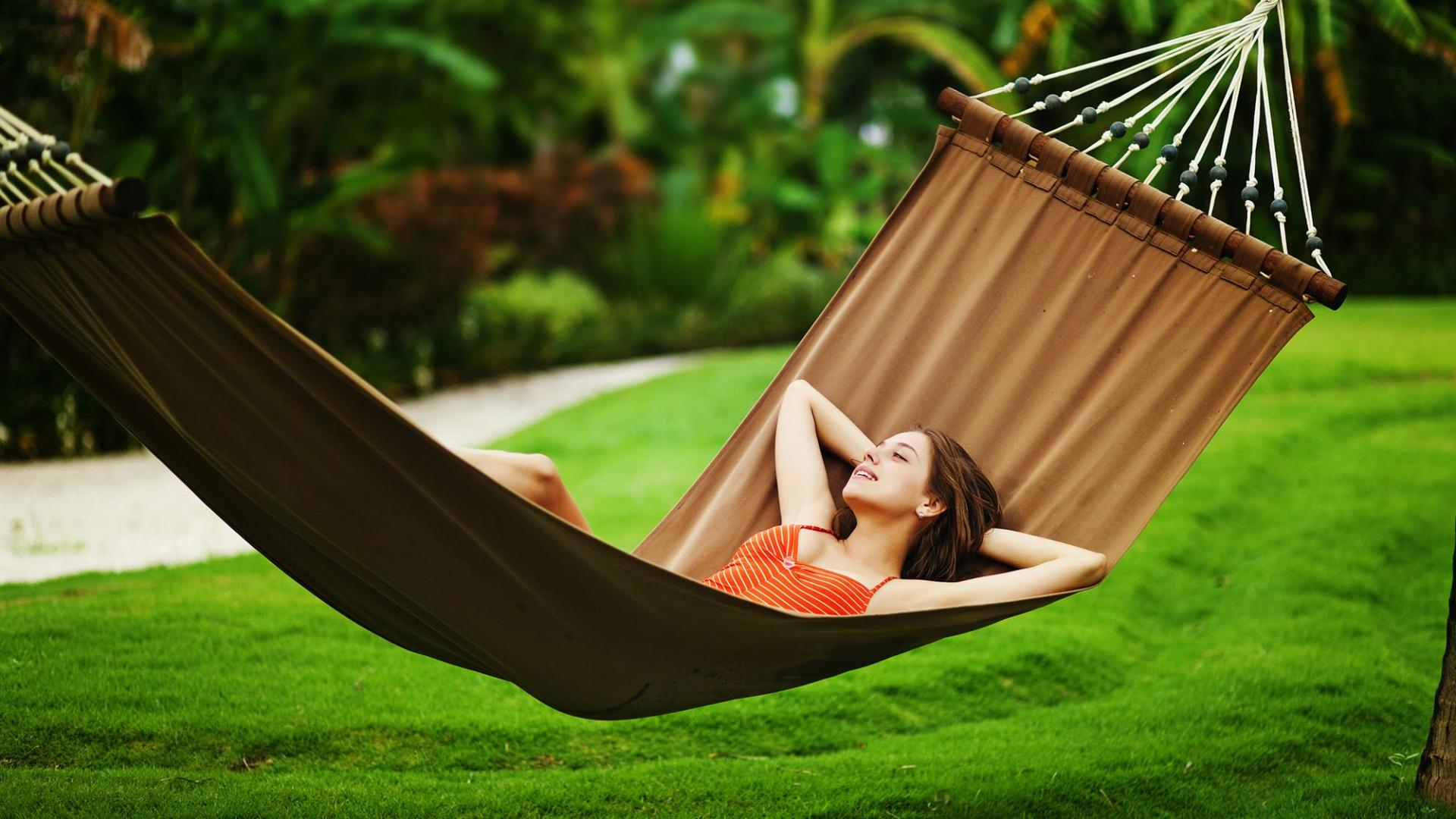 Young beautiful woman in hammock