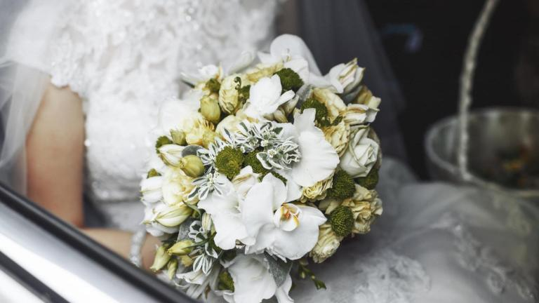 Bride, Wedding, Bouquet, Wedding Car