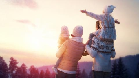 family, winter, sun