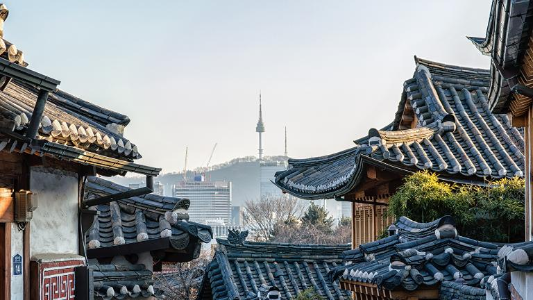 Seoul, South Korea at the Bukchon Hanok historic district