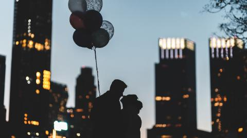 City, Balloon, Couple, Valentine's Day